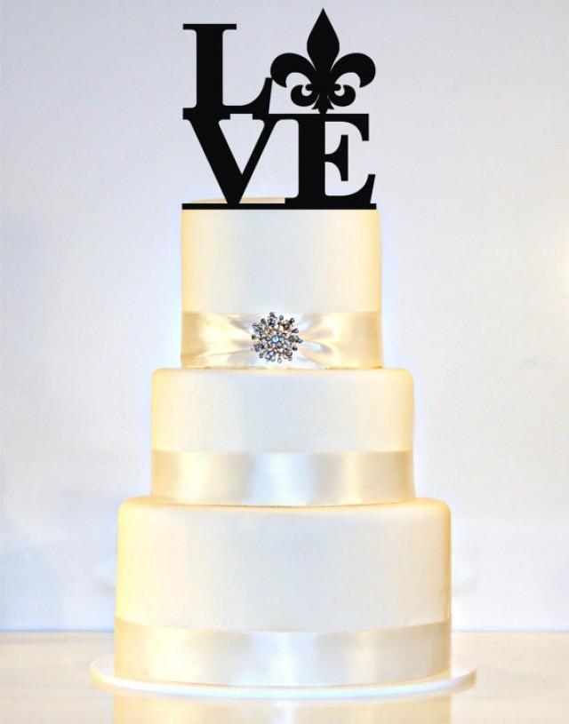 Love Wedding Cake Topper With A Fleur De Lis 2238328 Weddbook