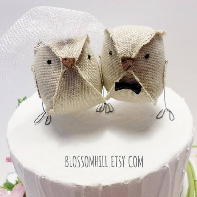 RESERVED - Wedding Cake Topper Love Birds - Burlap Beige Cotton ...