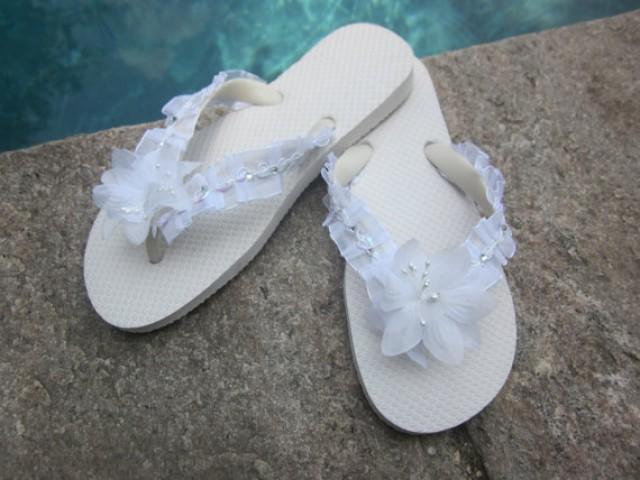 df8295bd1 Wedding Flip Flops Wedges for Bride.White Flip Flops.Beach Wedding Flip  Flops.Destination Wedding Shoes.Bling Flip Flops.