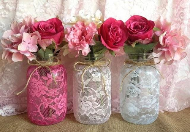 3 Lace Covered Mason Jar Vases Pink Hot Pink White