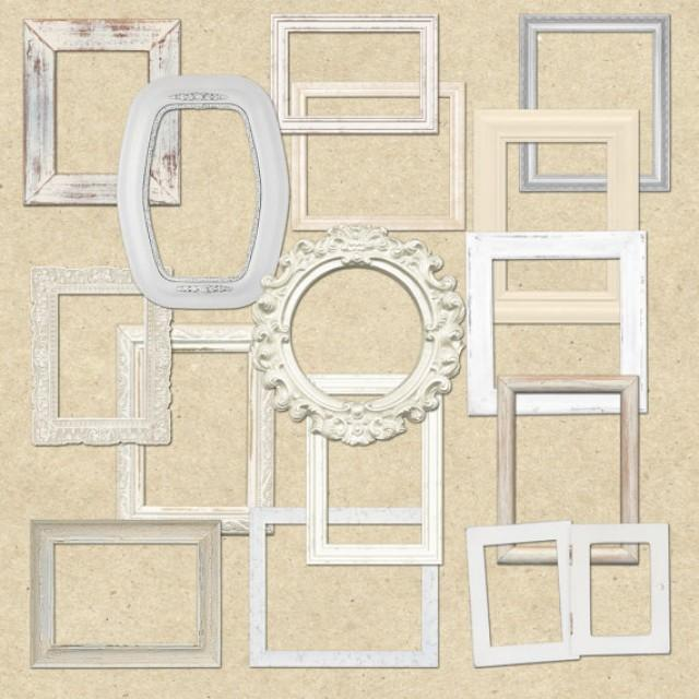 Shabby Chic White Wooden Frames Clipart For Scrapbooking, Crafts ...