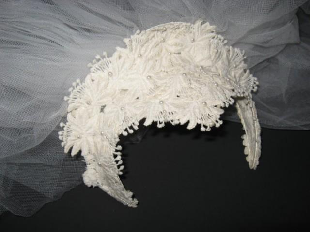 Vintage Beaded Ivory Floral Venice Lace Pearl Wedding