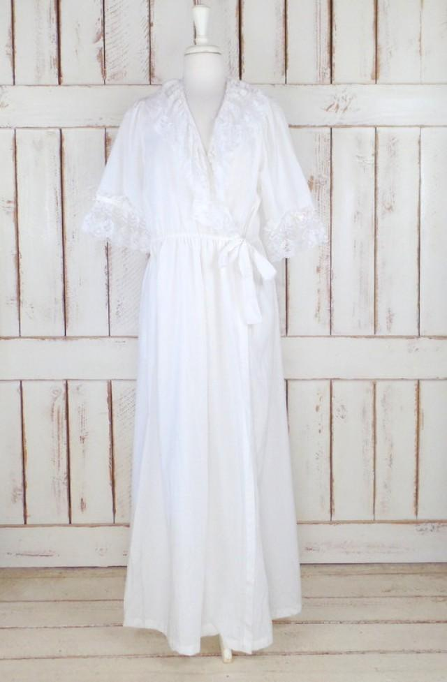 On Sale 15% Off - Vintage White Cotton Ruffle Lace Peignoir Dressing ...
