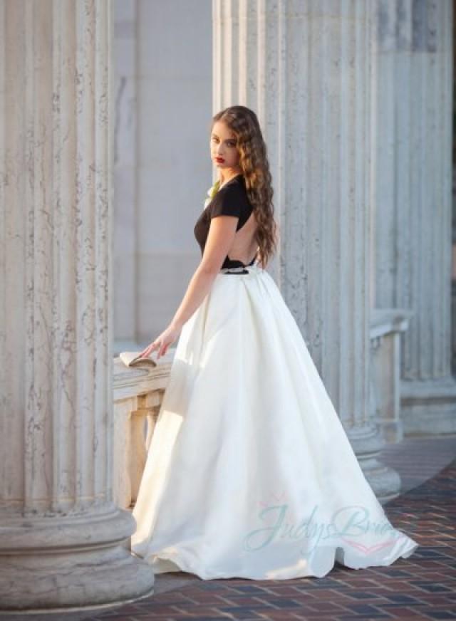JOL262 Modern Chic Black Ivory Keyhole Back Wedding Dress #2239473 ...