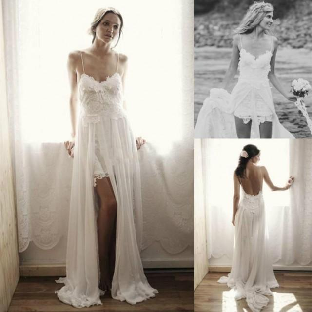 2014 amazing bohemian wedding dresses a line beach bridal for Short beach style wedding dresses