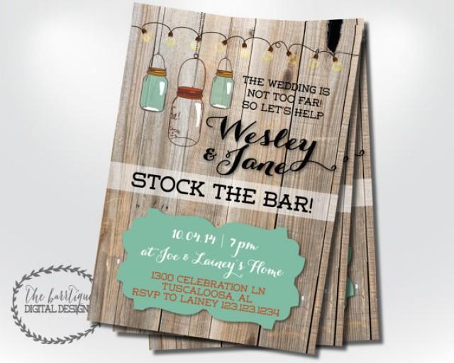 stock the bar invitation housewarming invitation rustic stock the
