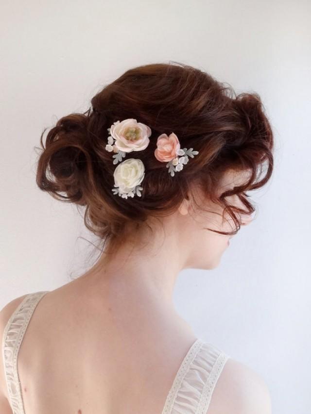 Bridesmaid hair accessories flowers flowers healthy bridal hair piece flower hair pins blush flower ivory flower bridal hairpiece wedding hair accessories flower mightylinksfo