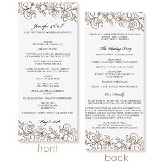 instant download wedding program template vintage bouquet mocha tea length microsoft. Black Bedroom Furniture Sets. Home Design Ideas