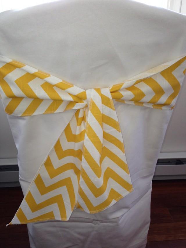 Corn Yellow And White Chevron Chair Sash 45 Wide X 72 Long