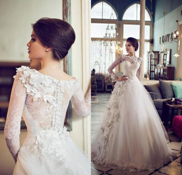 Beautiful Ball Gown Wedding Dresses: Lace Long Sleeves 2014 Beautiful Wedding Dresses With