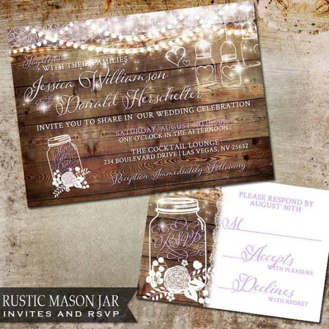 Rustic Mason Jar Wedding Invitation Wood With Flicker Handing Lights Of Mason Jars And Flowers Diy Country Wedding Invitations 2240043 Weddbook