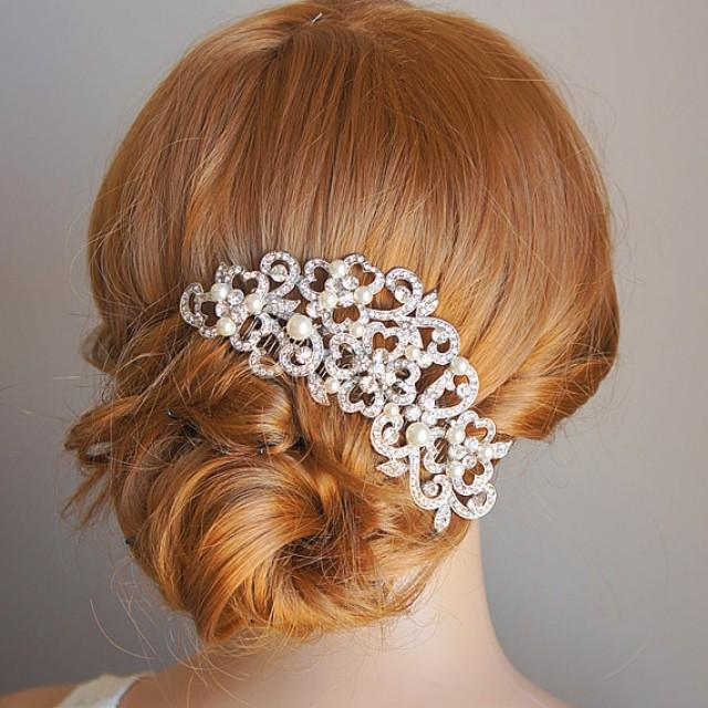 PERRINE Victorian Style Wedding Hair Comb Ivory Or White Pearl And Rhinestone Bridal Flower Crystal Accessories 2240127