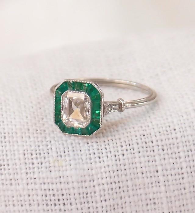 Art Deco Platinum .85 Carat Diamond And Emerald Engagement