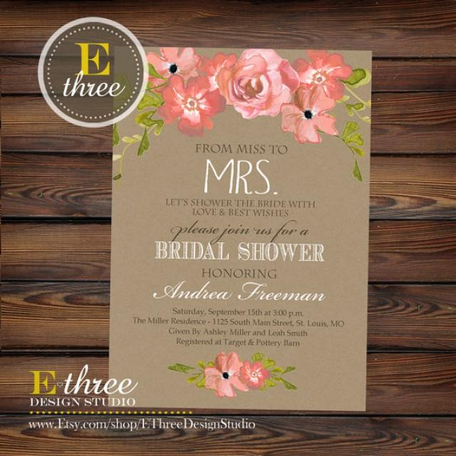 Printable Bridal Shower Invitation   Rustic Watercolor Flowers And Kraft  Paper Bridal Shower Invite   Wedding Shower Invitation #2240252   Weddbook
