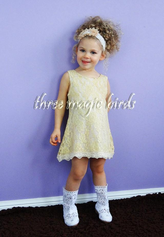 Flower Girl Dress-Beige SLEEVELESS Flower Girl Dress-Christening ...