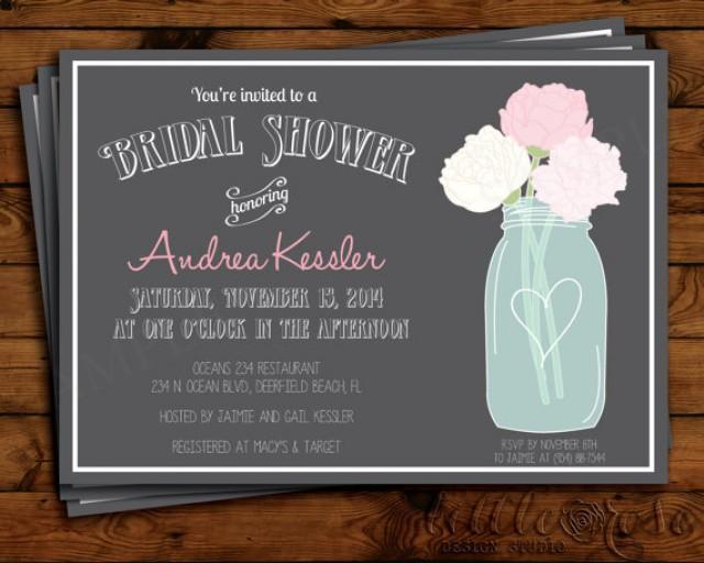 mason jar bridal shower invitation - bridal shower invite, Baby shower invitations