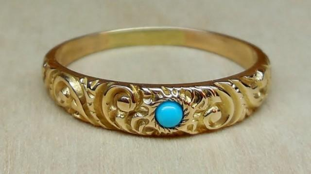 Vintage Antique Turquoise 14k Yellow Gold Victorian Art