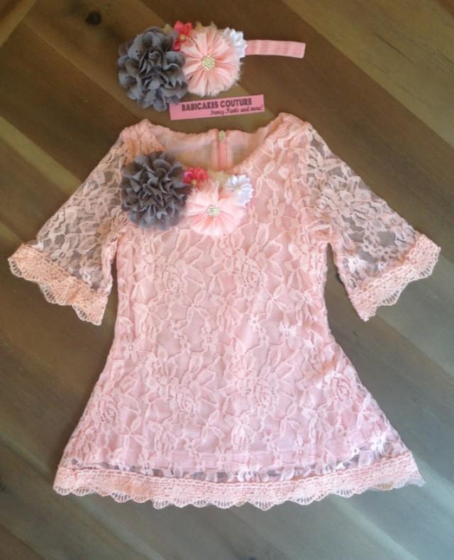 9496515067911 Pink And Gray Lace Dress & Headband 1st Birthday Dress, Pink Lace ...
