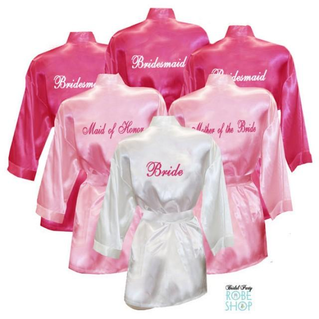 Set Of 11 Personalized Satin Robes With Title On Back 133e3fb0b