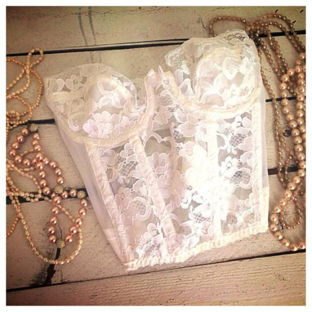 f3b6e036e0 SALE Vintage Victorias secret white lace bra bustier   vintage bra   sexy  lingerie   vintage lingerie   vintage wedding   size 34A