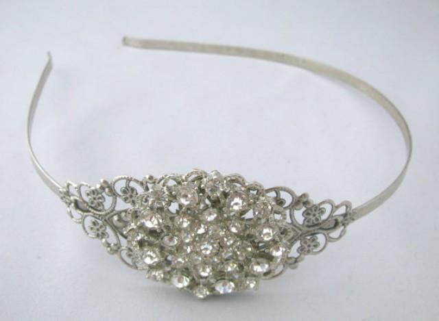 Wedding Headband, Crystal Rhinestone Bridal Head Piece