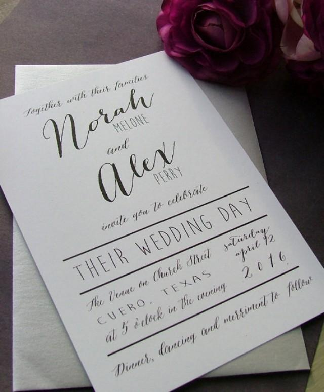 Black And White Modern Wedding Invitations: Simple Wedding ...