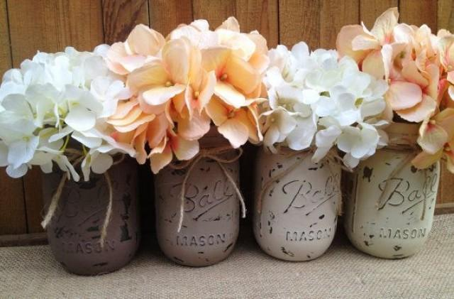 Pint Painted Mason JarsVintageRustic Home DecorWedding Centerpieces Shabby Chic JarsFrench CountryBaby Bridal Shower 2241055