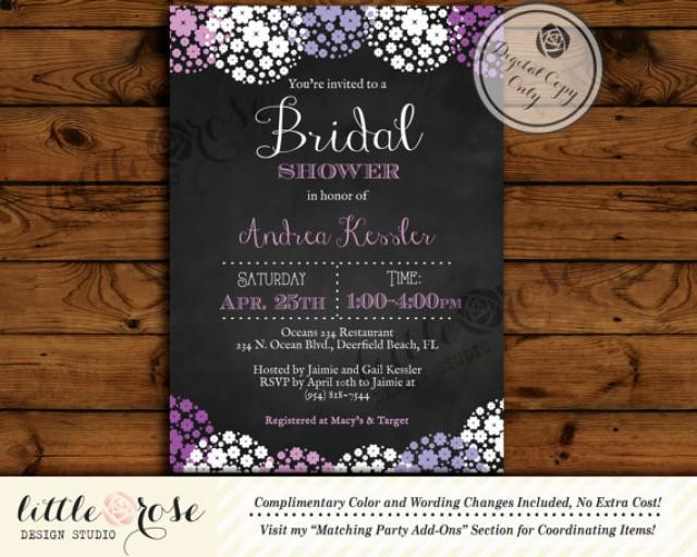 When Do You Send Invitations For A Wedding: Chalkboard Floral Bridal Shower Invitation