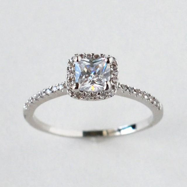 Cz Ring Cz Wedding Ring Cz Engagement Ring Halo Engagement Ring