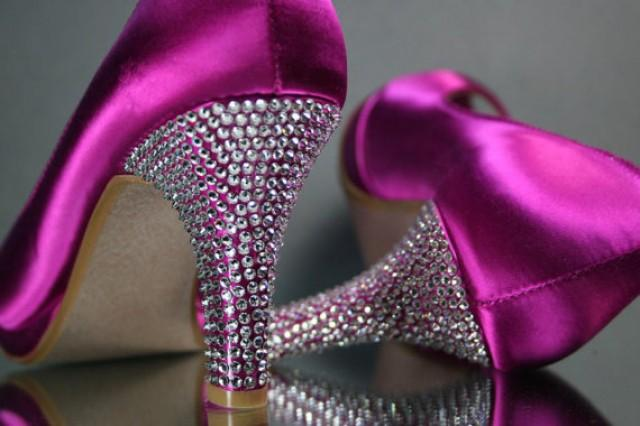 Pink Wedding Shoes Low Heel: Wedding Shoes -- Fuschia Pink Wedding Peep Toe Shoes With