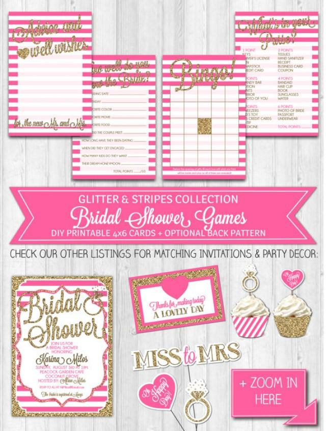 instant download bridal shower games bright pink gold glitter fuschia activity bridal shower advice card digital printable file 2242390 weddbook