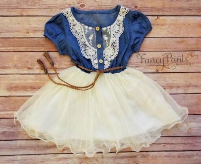 Denim Toddler Girls Tutu Dress Vintage Dress Rustic