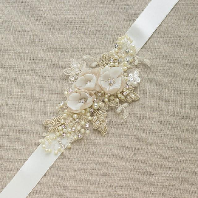 Champagne bridal belt wedding dress sash floral belt sash for Ivory wedding dress sash