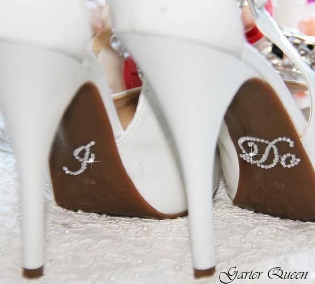 I DO And ME Too Bridal Shoe Sticker Silver Crystal Do For Shoes Rhinestone Applique Wedding Accessory 2242788
