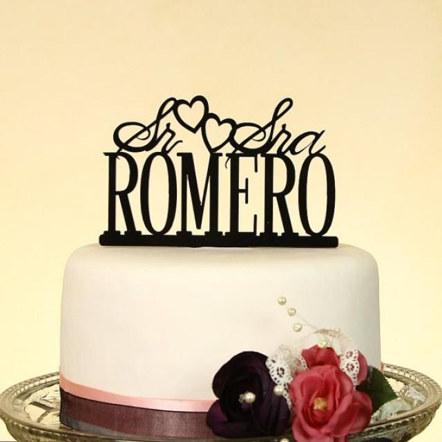 Mr And Mrs Personalized In Your Name Wedding Cake Topper Spanish With Display Base By Distinctly Inspired Style SS 2 2242845