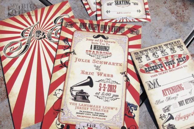 Up Themed Wedding Invitations: Vintage Carnival Themed Wedding Invitation. Circus Themed