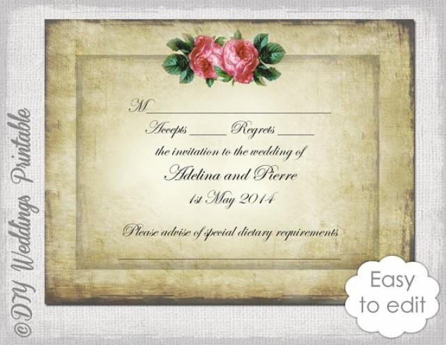 "Cheap Shabby Chic Wedding Invitations: Wedding RSVP Template Download DIY Vintage ""Valentine"