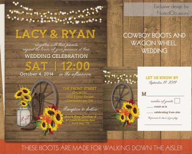 Boots Wedding Invitations: Western Wedding Invitation Set Wagon Wheel, Rustic Mason