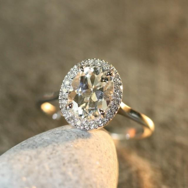 White Topaz And Diamond Halo Engagement Ring In 14k White