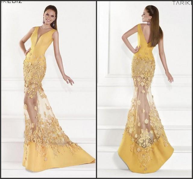 Bright Mermaid Yellow Sexy Evening Dresses Applique Satin