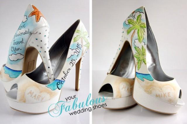 Beach Wedding Bridesmaid Gifts: Beach Wedding Shoes, Destination Wedding Personalized