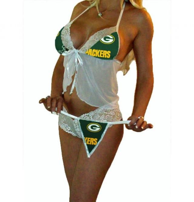 Nfl Lingerie Green Bay Packers Sexy White Cami Top And Lace Booty