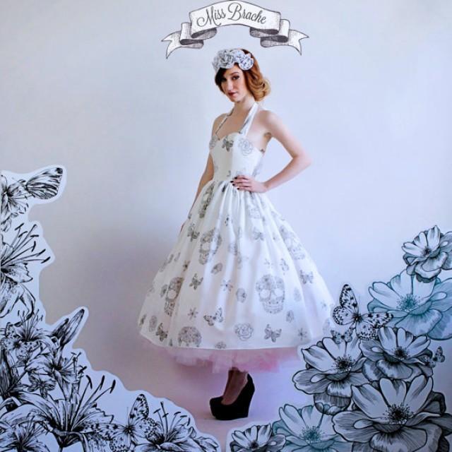 Sugar skulls flowers and butterflies print wedding dress for Sugar skull wedding dress