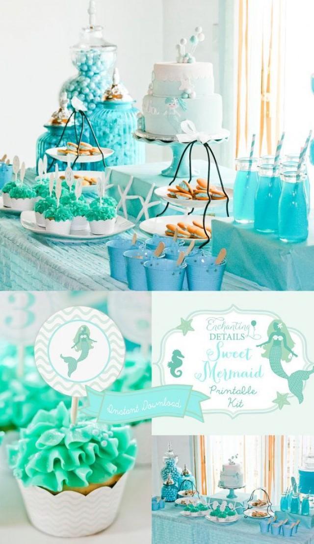 INSTANT DOWNLOAD Mermaid Printable Birthday Party Kit Invitation