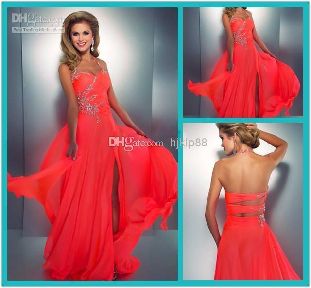 2014 Coral Colored Prom Dresses Crystal Embellished Halter Slit