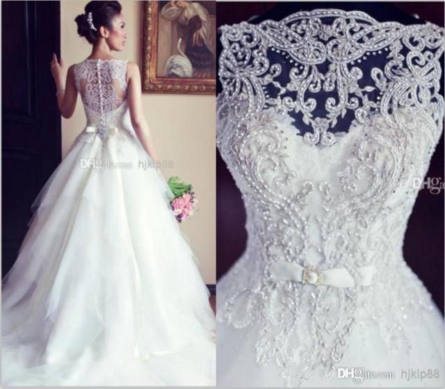 Vestido de noiva ball gown vintage wedding dresses lace for Crew neck wedding dress