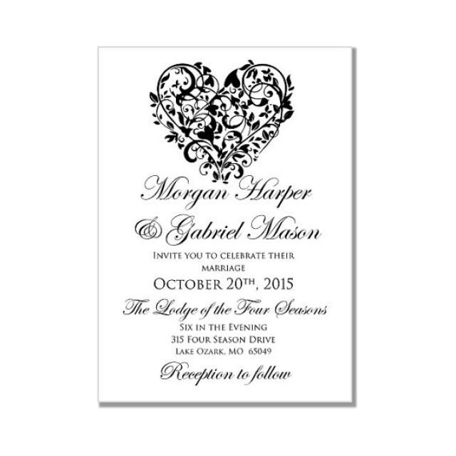 Printable Wedding Invitation Quot Heart Quot Diy Wedding
