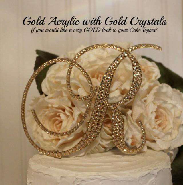 Gold Acrylic With Gold Swarovski Crystals Monogram