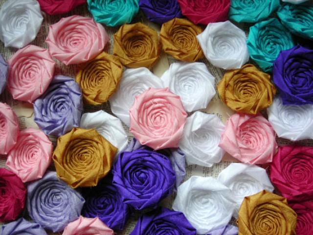Fabric Flower Rosettes Silk 2 Inches Set Of 50 Wholesale