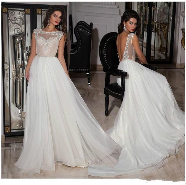 Charming Applique Wedding Dresses 2015 Sheer Neck Backless